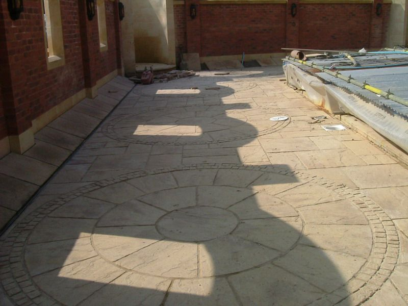 Ornate patterns laid out in a forecourt