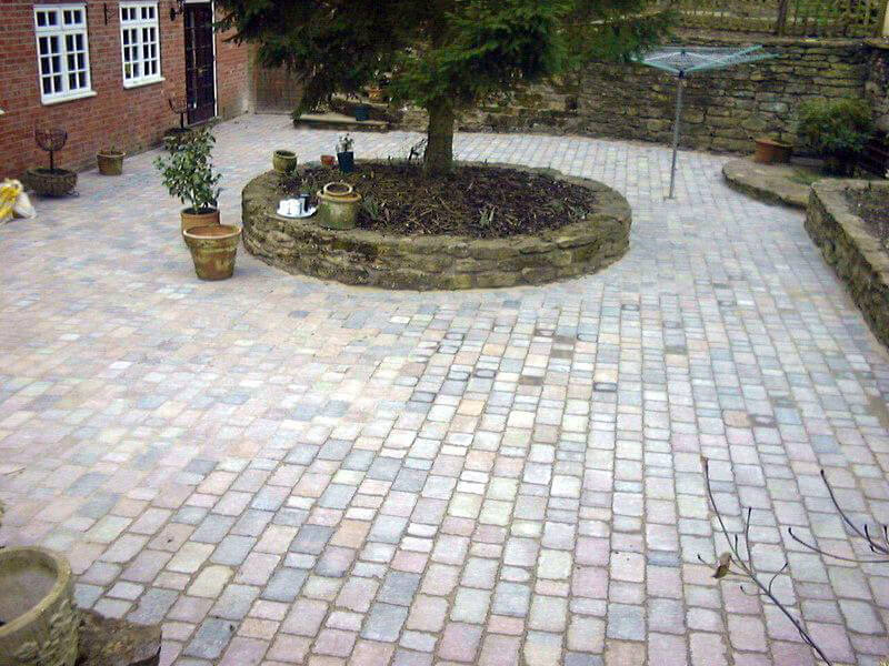 Block paving in a domestic back garden